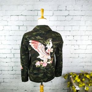 Driftwood Camo Embroidered Eagle Jacket Green S